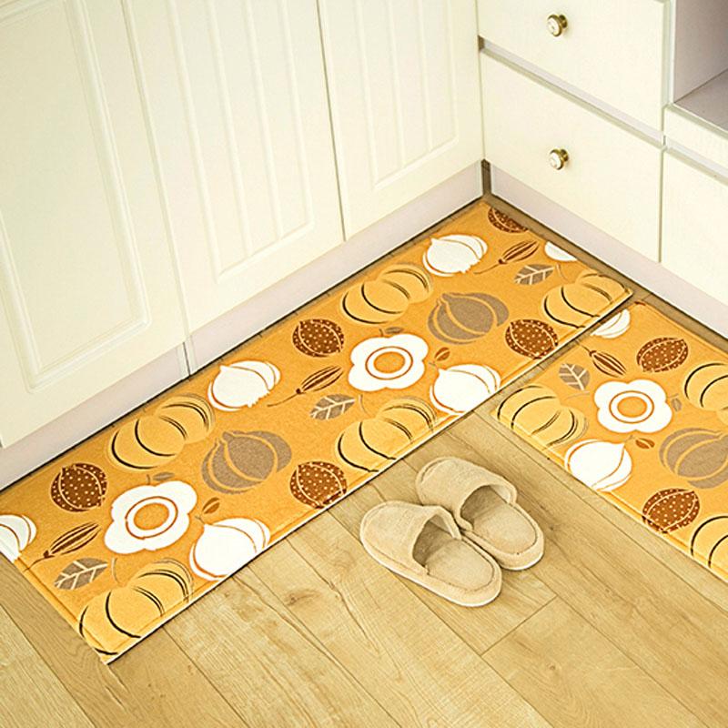 Yellow Kitchen Mats: Festivals Pumpkin Printed Design High Quality Suede Floor