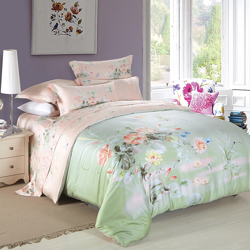 Oriental and Western Style Floral Print Tencel Bedding Set Queen King Size Duvet Cover Bed Linens 2016 Summer Cool Bedroom Sets(China (Mainland))