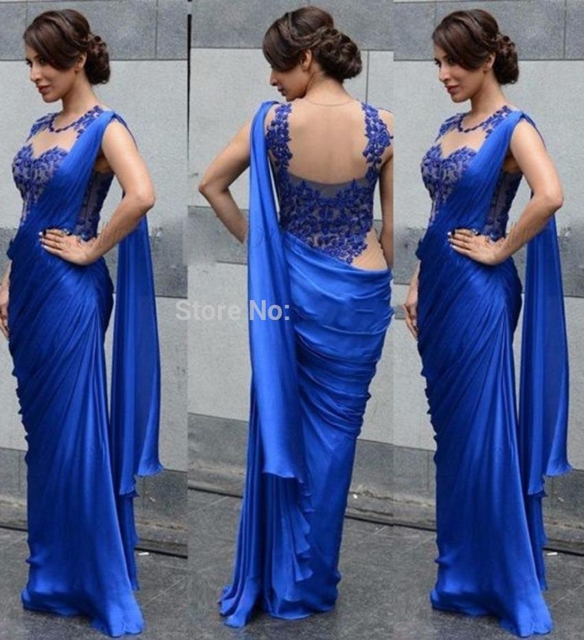 2016 Indian Saree Evening Dresses Mermaid Floor Length Lace Formal Royal Blue Chffon Women Formal Dress Evening Gown(China (Mainland))