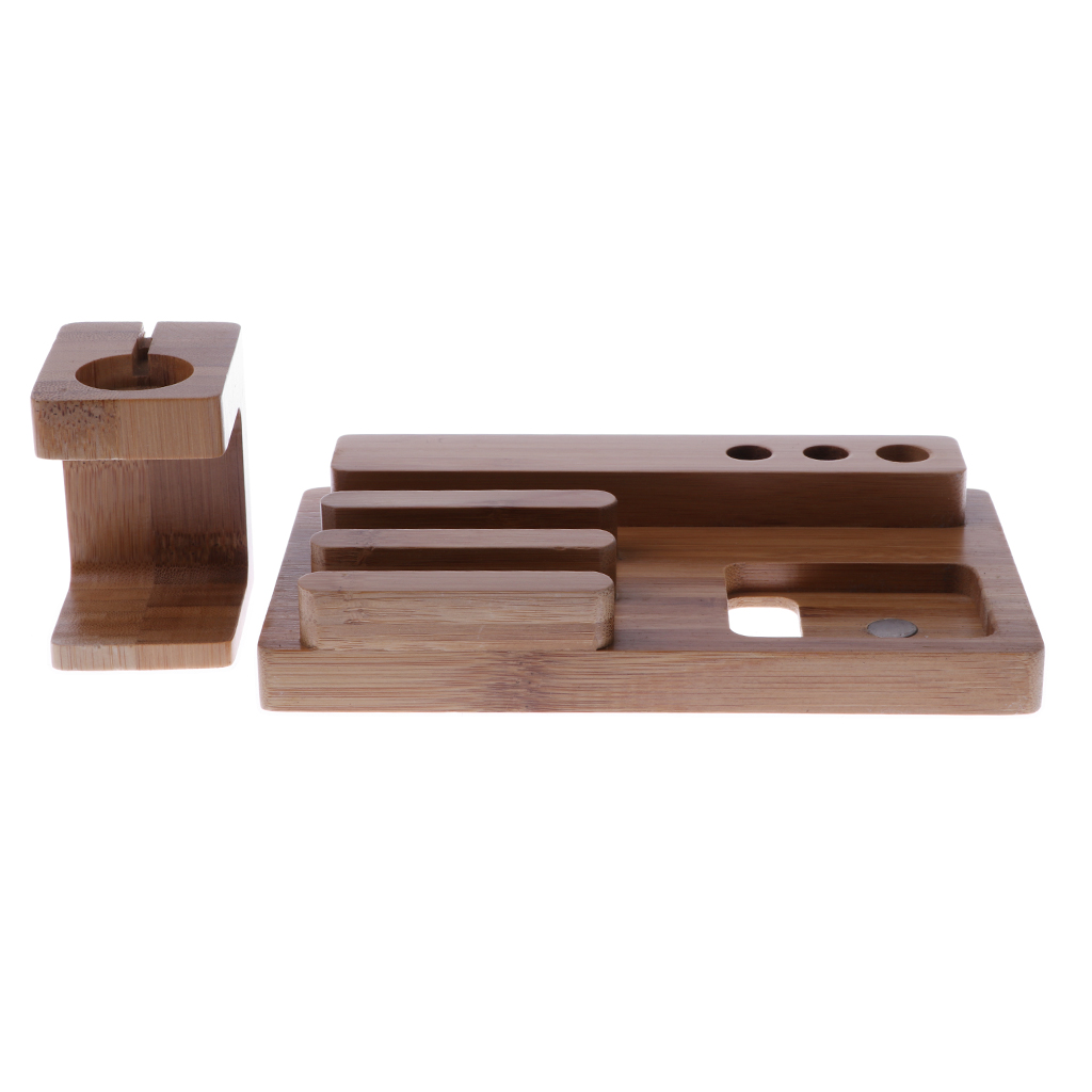 Bamboo Wood Charging Dock Stand Bracket Accessories for Apple Watch/iPhone/iPad