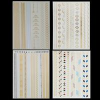 4 Style Mix Colors Fashion tattoo Watch Flower Body Art metallic Flash Temporary Tattoo Stickers Gold Silver Tattoo