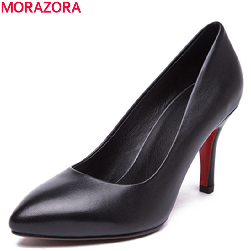 2016 summer fashion high quality genuine leather women pumps stiletto high heels pointed toe solid black shos woman<br><br>Aliexpress