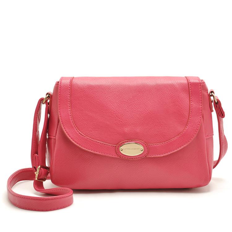 women's hot pink leather messenger bags ladies 2015 spring designer cute shoulder bag fashion crossbody satchels bolsos mujer(China (Mainland))