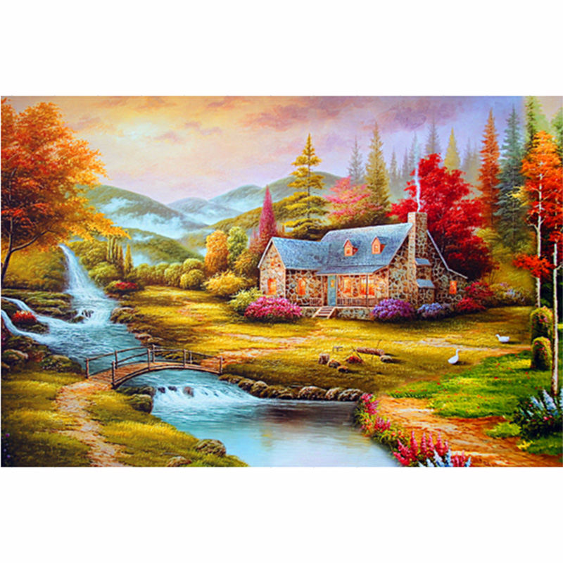 Diy 5D Rubik's cube diamond painting 48x68cm Pastoral Scenery series Decorative Painting Handmade mosaic - Diamond cross stitch stores store