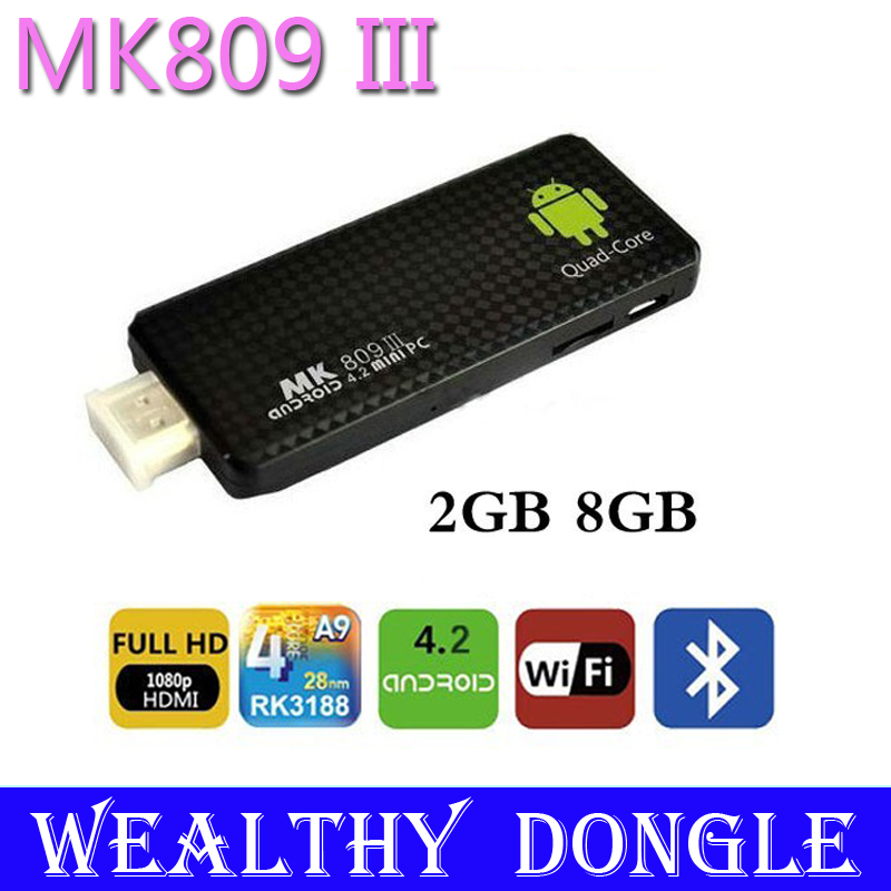 MK809 III Quad Core RK3188 Mini PC Stick Bluetooth Wifi Android 4.2 TV Dongle RAM 2G/ 8G Support Adobe Flash 11(China (Mainland))