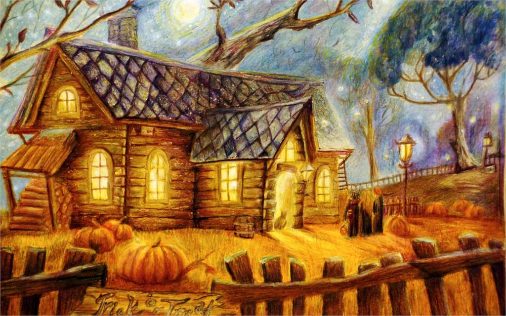 Painting halloween halloween house people pumpkins fence trees lights moon 4 - Deco salle halloween ...