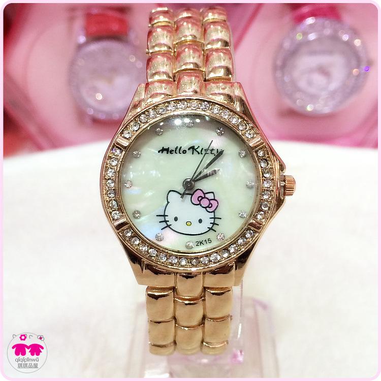 Original Rose Gold Relogio 2015 New Fashion Women Japan Mov Quartz Watch Cartoon Hello Kitty Wristwatches Best Gift(China (Mainland))
