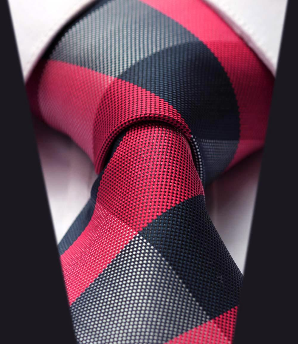 "TC4029R8 Red Blue Check New 3.4"" 100% Silk Jacquard Woven Classic  Man's Tie Necktie(China (Mainland))"