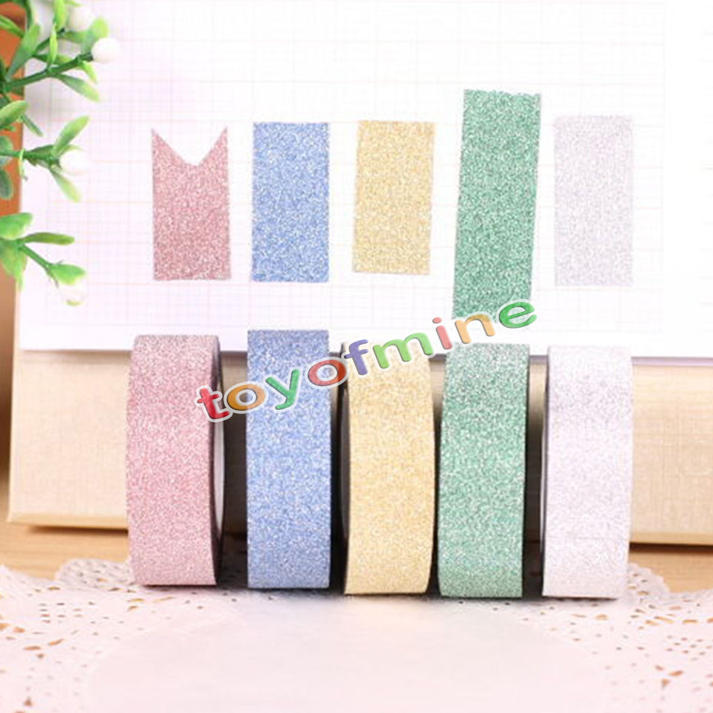 5m glitter washi sticky paper masking adhesive tape label for Sticky paper for crafts