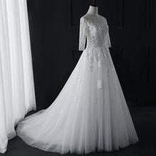 Nova Moda Simples 2018 Vestidos de Casamento Do Laço de Três Manga Trimestre O-pescoço Elegante Plus Size Vestido De Noiva vestido de Noiva Q(China)