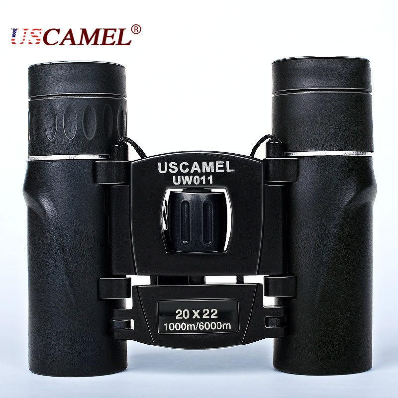 USCAMEL 20x22 Compact Zoom Binoculars Long Range 3000m Folding HD Powerful Mini Telescope Bak4 FMC Optics Hunting Sports Black<br><br>Aliexpress