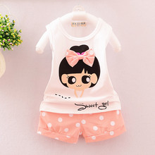 2016 New Fashion Summer Style Baby Girls kids Clothing Set Cartoon T-shirt+Pant  2 piece/set kids Children Clothes Set 3 color