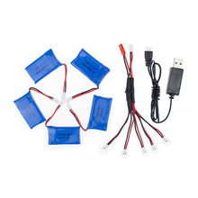 Syma X5C rc 3.7v 850mah Lipo battery 5pcs and USB charger with cable for syma x5 x5sw x5sc cx30 cx30w Helicopter drone part