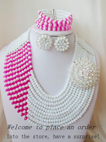 2015 Fashion african white crystal beads necklace set nigerian wedding african beads jewelry set Free shipping P-4444<br><br>Aliexpress