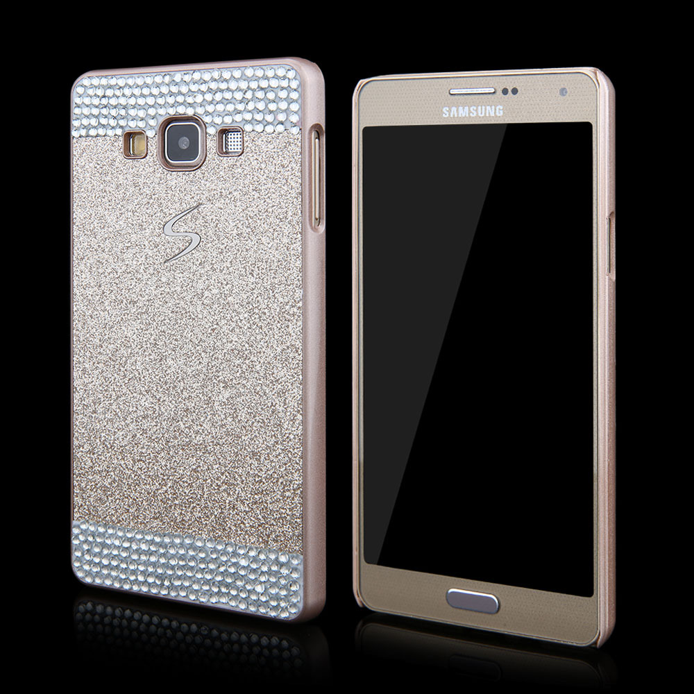 Luxury Flash Giltter Rhinestone hard back cover Glistening Bling Diamond protective phone case for Samsung Galaxy A3 A5 A7(China (Mainland))