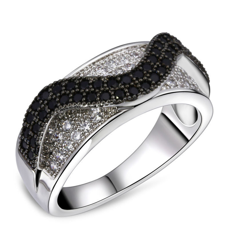 Nice Looking Cute Women Rings Black & White CZ Real Platinum & Black Plated Prong Setting AAA Quality CZ Fine Wedding Jewelry(China (Mainland))