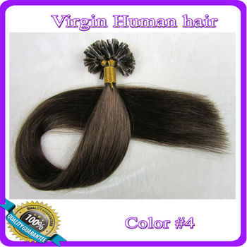 "18"" 20"" 22"" Keratin  U Stick U Tip Virgin Remy Human Hair Extensions 100s/pack Color#4 Medium brown"