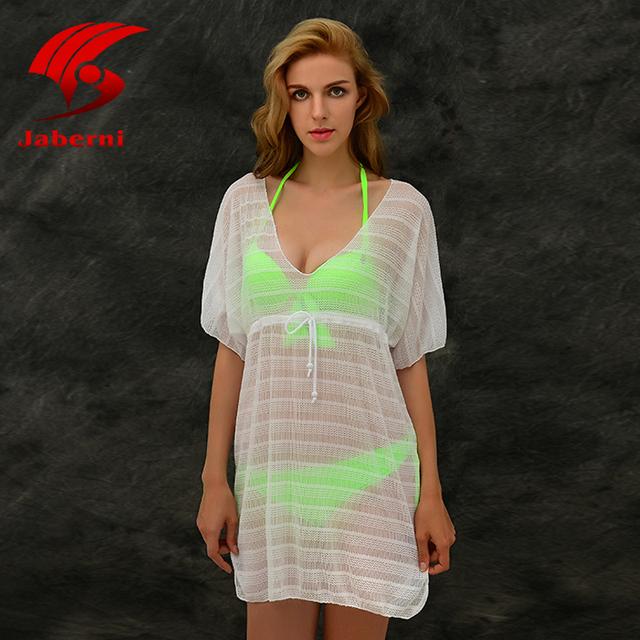 Прозрачной сетки Swimdress женщины сексуальные купальники марка пляж вязание платье женский твердого сетки купальник Vestidos