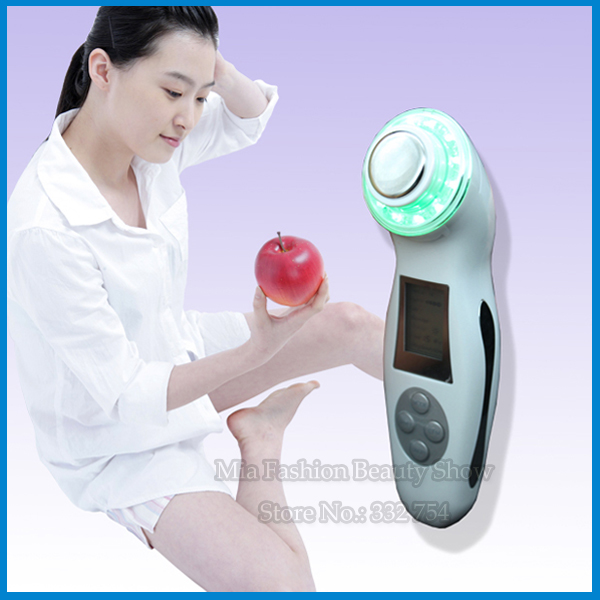 New 3Mhz Ultrasonic Ultrasound Sonic Ion Facial Skin Rejuvenation 3 LED Color Light Therapy Massage Beauty Device(China (Mainland))