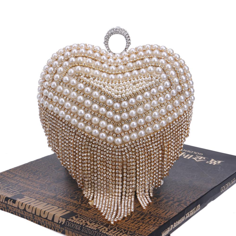 ซื้อ New Women's Diamond Ring Tassel Clutch Rhinestone Pearl Stitching Heart-shaped Evening Bag Wedding Party Handbag Shoulder Bag