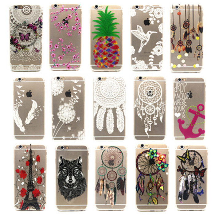 Ultra Thin Transparent Cartoon Painting Flower Butterfly Soft TPU Silicon Case For iPhone 6 PLUS / 6S PLUS 5.5'' Back Cover(China (Mainland))