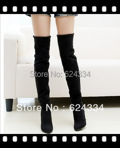 Hot selling 2015 new women's high heel boots, Over The Knee Boots For Women Scrub Upper Stretch Fabric Slim shoes free shipping