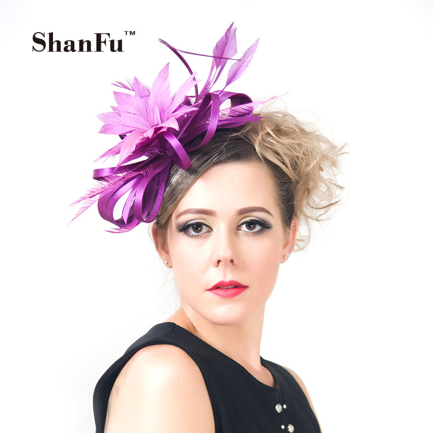 ShanFu Women Feather Fascinators Large Satin Wedding Hat Purple Fascinator Hat For Wedding Cocktail Pink with Headband SFC12214(China (Mainland))