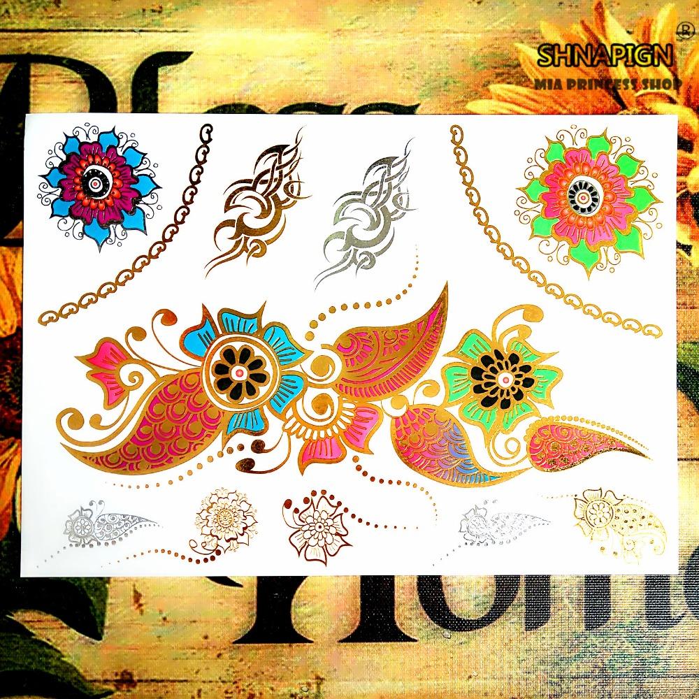 SHNAPIGN 24 style Temporary Tattoo Body Art, Large golden flowers Designs, Flash Tattoo Sticker Keep 3-5 days Waterproof 21*15cm