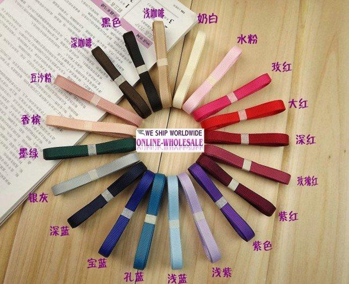 "Free shipping 1/4"" (6mm) grosgrain ribbon,210 meters,21 colors mixture DIY ribbons set,DIY hair ornament,DIY ribbon kit(China (Mainland))"