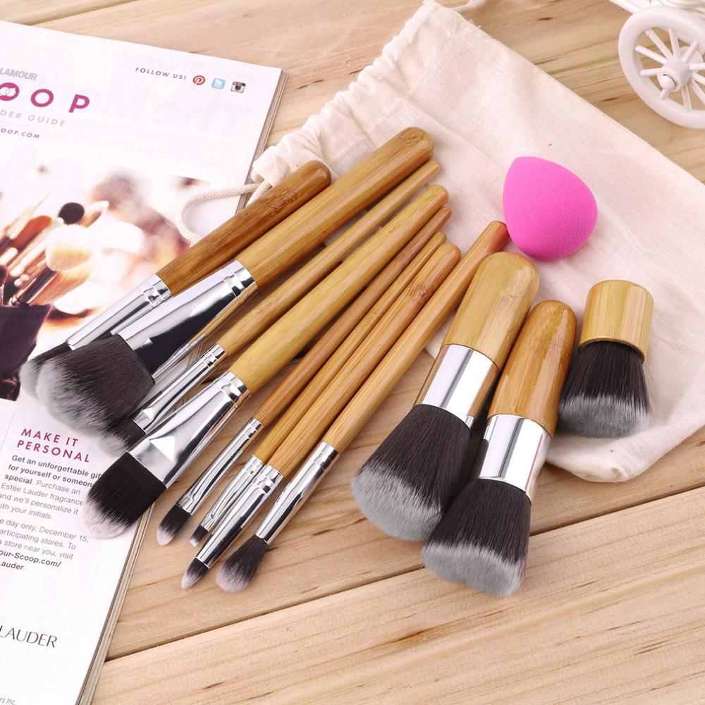 11Pcs Makeup Eyeshadow Foundation Concealer Brushes Sets+ Sponge Blender Puff 2016 Hot Worldwide sale