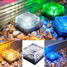 Buy Solar Power LED Light Outdoor Waterproof Ground Crystal Glass Ice Brick Lawn Yard Deck Road Path Garden Decoration Security Lamp for $10.65 in AliExpress store