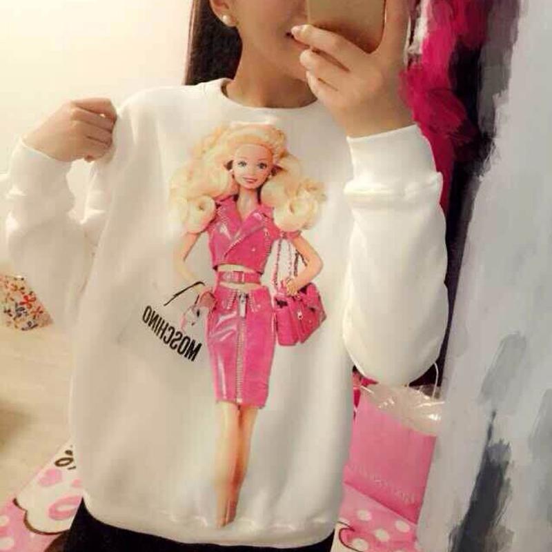 2015 Tee Shirts Women Fashion 100% Cotton Womens Woman Tops Winter Thicken Cartoon Long Sleeve Loose Femal DZ1201-18 - Guangzhou Maybe Trading Co., Ltd store