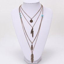 Hot Selling Jewelry Leaf Choker Collar Maxi Necklaces Pendants Long Chain Multi Layer Necklace For Women