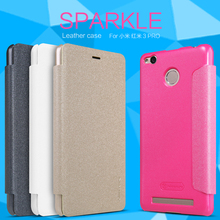10pcs/lot Wholesale NILLKIN Sparkle Leather Case For Xiaomi Redmi 3S/Red Rice 3s/Xiaomi Redmi 3 pro Pearly Colorful Cover Case(China (Mainland))