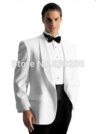 Suits Custom Design White Groom Tuxedos Groomsmen Men's Wedding Suits Best man Suits (Jacket+Pants+Girdle+Tie)(China (Mainland))