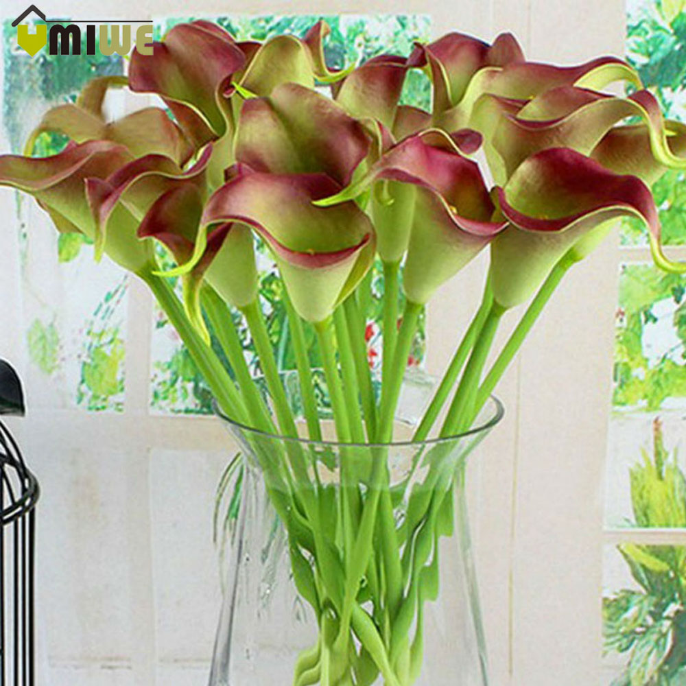 Umiwe 10pcs European Style PU Calla Artificial Flowers Wedding Bouquet Real Touch Party Flowers For Home Office Decoration(China (Mainland))