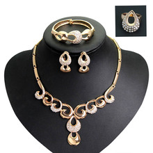 Vintage Exaggerate Fine Jewelry Crystal Necklace/ Earrings/ Bracelet/ Ring Round Clasp Round Jewelry Sets(China (Mainland))