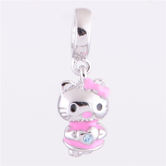 New Hello Kitty Dangle Charms 925 Sterling Silver bedas Suitable for Pandora Style Charm Bracelets YZ304(China (Mainland))