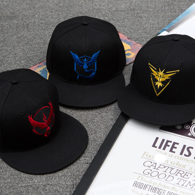 Cosplay Mobile game Pokemon hat Go Team Valor Team Mystic Team Instinct snapback baseball Cap Ash Pokemon hip hop baseball hat(China (Mainland))