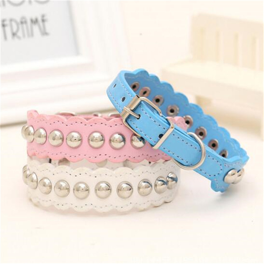 Pet Supplies Simple Dog Collar For Chihuahua Puppy Cat Small Animals Wavy Pu Leather Blue Pink White(China (Mainland))