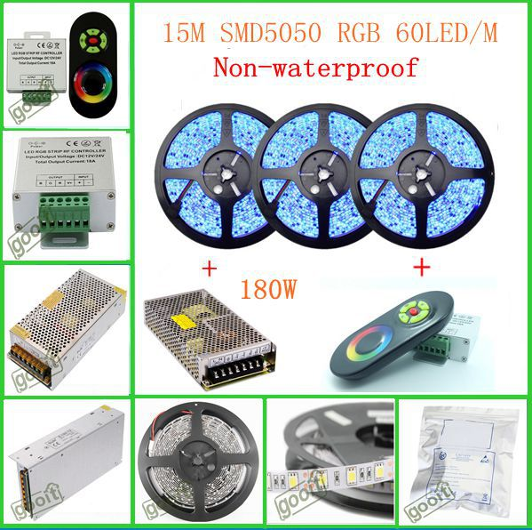 15M SMD5050 RGB Non-Waterproof 60Led/M Flexible Led Strip lamp + Wireless RF Dimmer Control Touch Remote Controller + 180W Power<br><br>Aliexpress