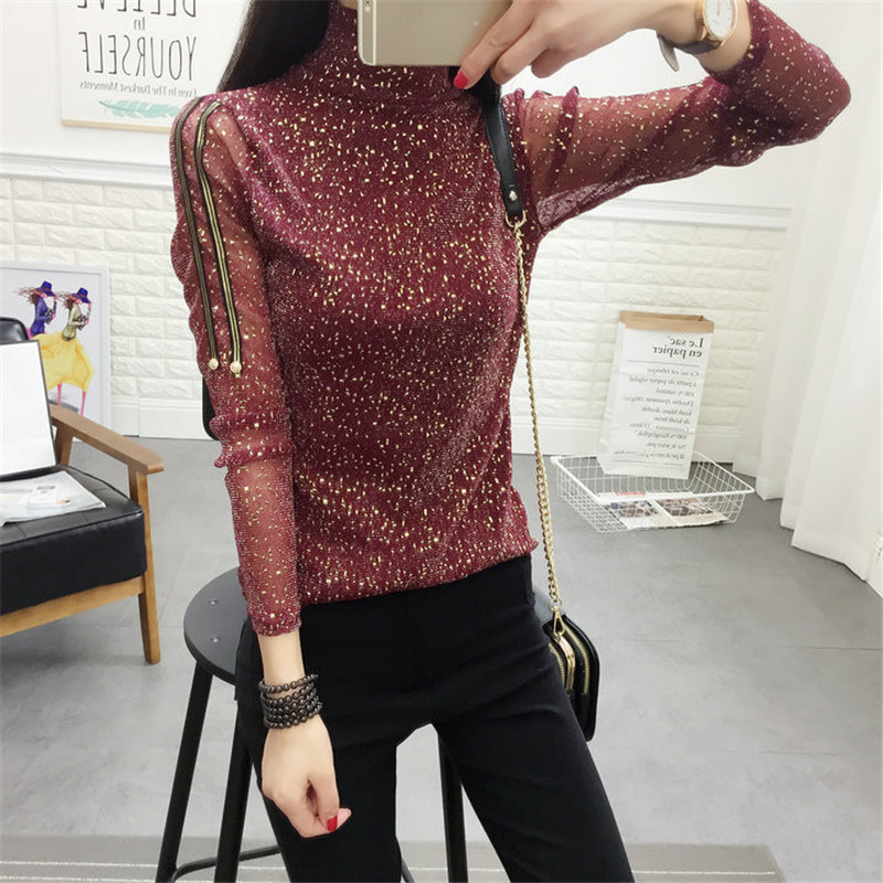 2017 Summer New Fashion Women Summer Bling T Shirt Casual Woman Shining Full Sleeve Tops Turtleneck Plus Size tee 72306 )