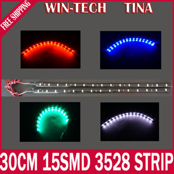 Free Shipping 4pcs/lot 30cm 15 SMD 3528 White Red Blue Green Color Waterproof Flexible LED Strip 30cm Length Car Strip