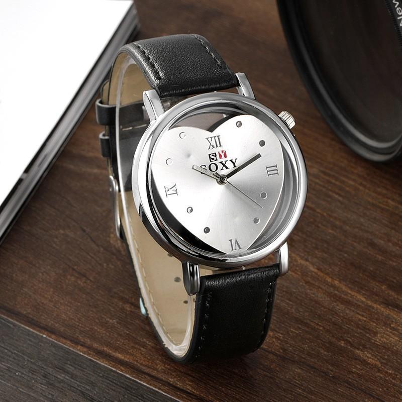 Изысканный минималистский Harajuku сердце формы двусторонняя hollow Корея творческая личность тенденции моды студентов часы