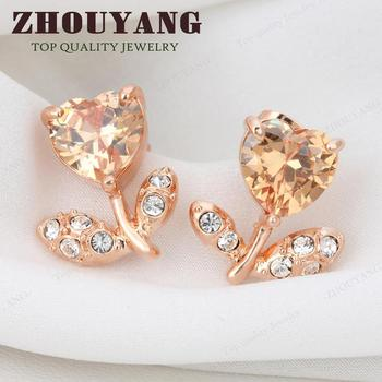 Top Quality Flower Earrings 18K Rose Gold Plated Fashion Jewelry Made with Austrian Crystal  Wholesale ZYE120