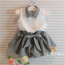 2015 Summer Baby Girl Clothing Set Bow Cute Children Suit 2PCS collar shirt+ Pantskirt Princess Sweet Twinset(China (Mainland))