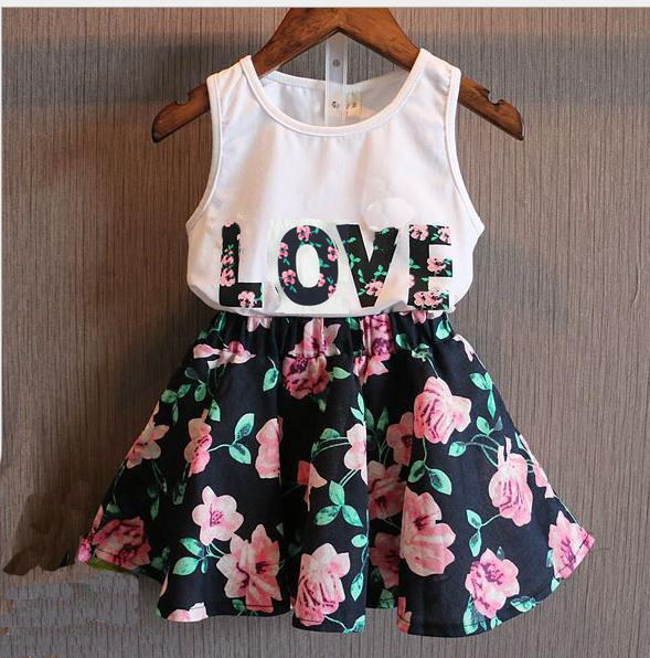 Children's clothing set 2015 new summer style girls letter love flower vest short skirt kids clothes(China (Mainland))