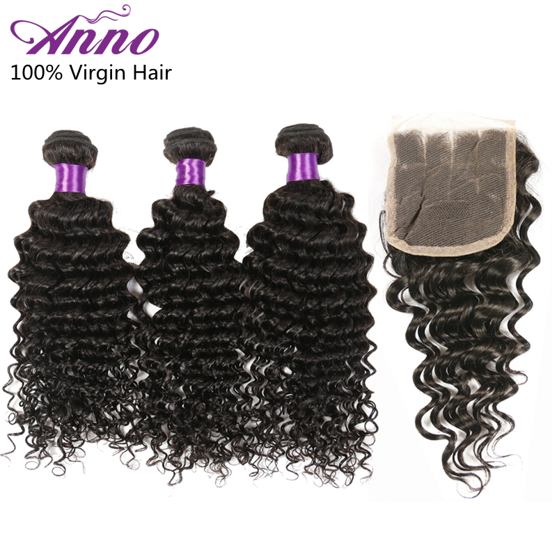 Malaysian Virgin Hair Deep Wave Bundles With Closure 6A Unprocessed Human Hair 3 Bundles Malaysian Curly with Closure Queen Hair<br><br>Aliexpress