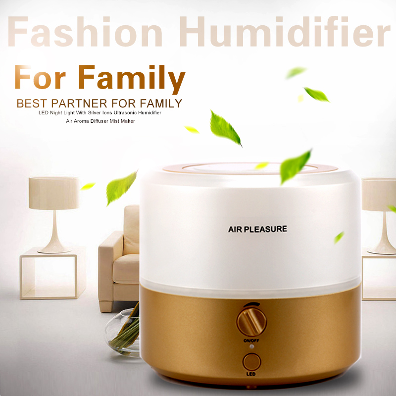 Aromatherapy Diffuser Air Humidifier LED Night Light With Silver Ions Ultrasonic Humidifier Air Aroma Diffuser Mist Maker HA-01L(China (Mainland))