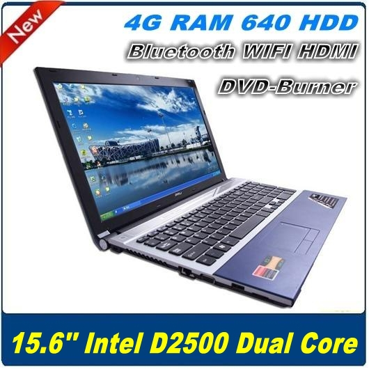 New arrival Dropshipping 15.6 inch laptop computer Atom N2600 4G RAM 640G HDD DVD-RW WIFI Bluetooth HDMI Webcam Netbook PC(China (Mainland))